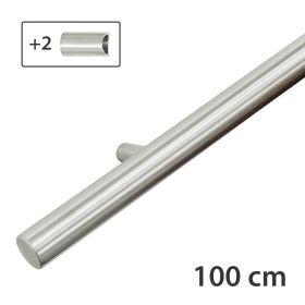 RVS design trapleuning 100 cm + 2 houders - Geborsteld