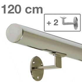Main courante inox 120 cm + 2 supports
