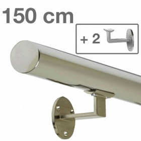 Main courante inox poli 150 cm + 2 supports