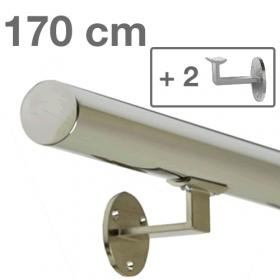 Main courante inox poli 170 cm + 2 supports