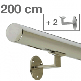 Main courante inox poli 200 cm + 2 supports
