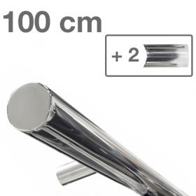 RVS design trapleuning 100 cm + 2 houders - Gepolijst