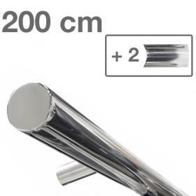 RVS design trapleuning 200 cm + 2 houders - Gepolijst