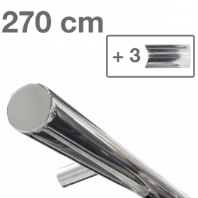 RVS design trapleuning 270 cm + 3 houders - Gepolijst