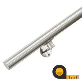 Main courante en inox brossé + supports - Sur mesure par cm