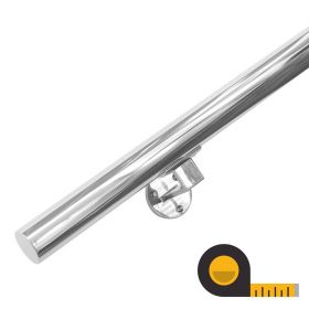 Main courante + supports en acier inoxydable poli - Sur mesure par cm