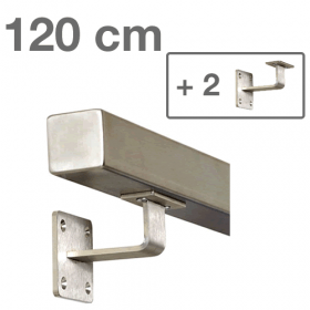 Main courante carrée 120 cm + 2 supports