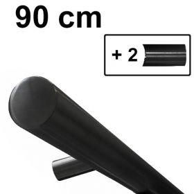 Main courante design noire - 90 cm + 2 supports